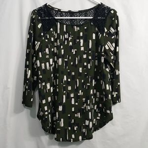 Weston Wear army green abstract print lace